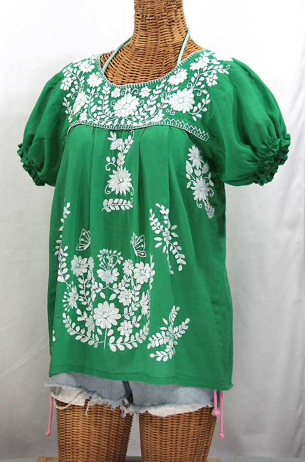 """La Mariposa Corta"" Embroidered Mexican Style Peasant Top - Green"