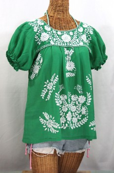 """La Mariposa Corta"" Embroidered Mexican Style Peasant Top - Green"