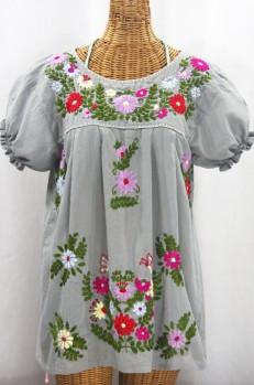 """""""La Mariposa Corta de Color"""" Embroidered Mexican Peasant Blouse - Grey + Multi"""