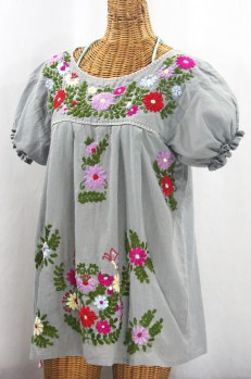 """La Mariposa Corta de Color"" Embroidered Mexican Peasant Blouse - Grey + Multi"