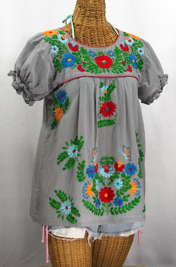 """La Mariposa Corta de Color"" Embroidered Mexican Peasant Blouse - Grey + Fiesta"