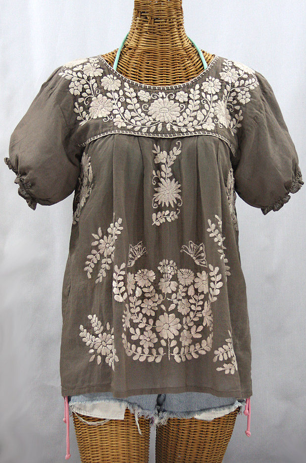 """La Mariposa Corta de Color"" Embroidered Mexican Blouse - Fog Grey + Cream"
