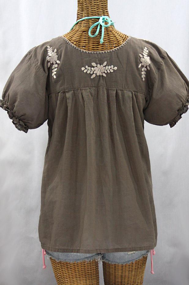 """""""La Mariposa Corta de Color"""" Embroidered Mexican Blouse - Fog Grey + Cream"""
