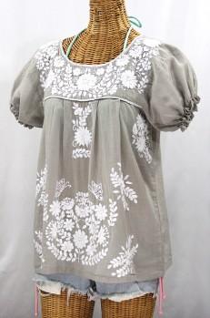 """La Mariposa Corta"" Embroidered Mexican Style Peasant Top - Grey"
