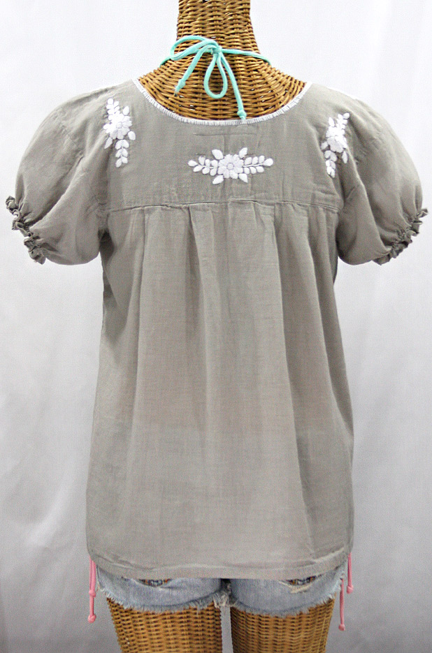 """La Mariposa Corta"" Embroidered Mexican Style Peasant Top - Grey"