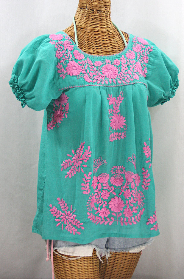 """La Mariposa Corta"" Embroidered Mexican Style Peasant Top - Mint + Pink"