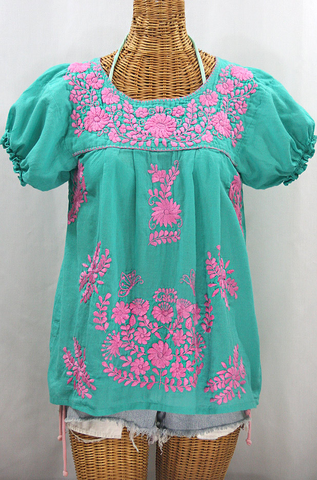 """""""La Mariposa Corta"""" Embroidered Mexican Style Peasant Top - Mint + Pink"""