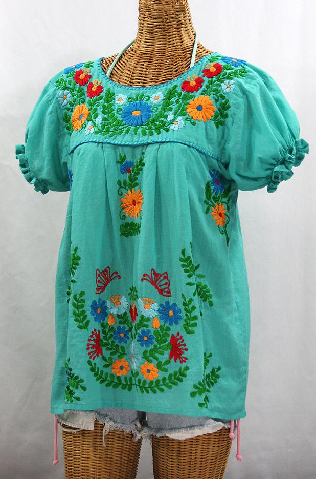 """La Mariposa Corta de Color"" Embroidered Mexican Blouse - Mint Green + Fiesta"