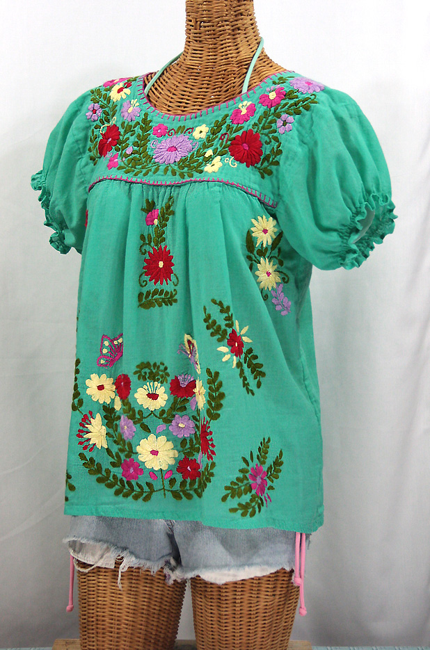 """La Mariposa Corta de Color"" Embroidered Mexican Peasant Blouse - Mint Green"