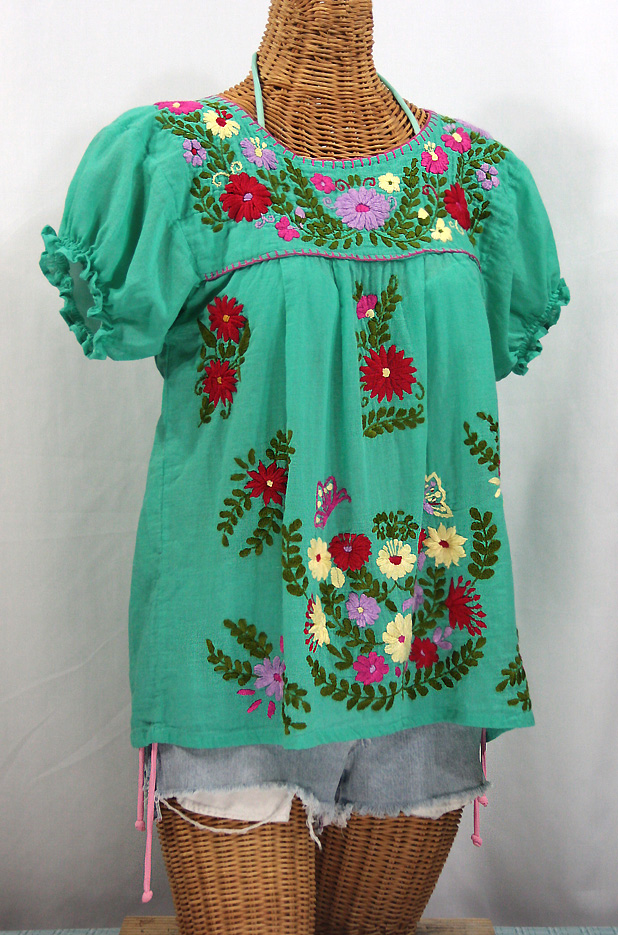 """La Mariposa Corta de Color"" Embroidered Mexican Peasant Blouse - Mint Green"