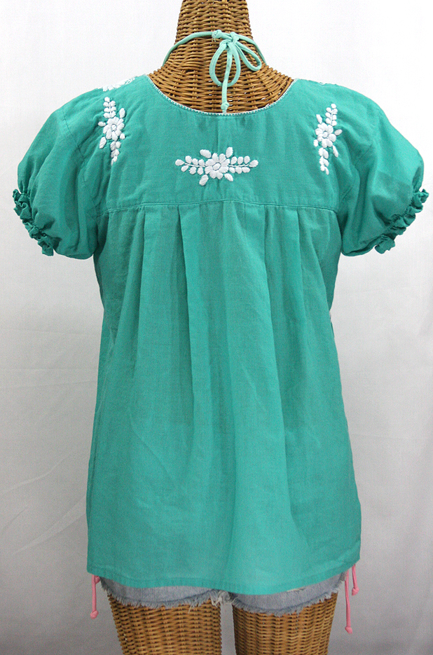 """""""La Mariposa Corta"""" Embroidered Mexican Style Peasant Top - Mint Green"""