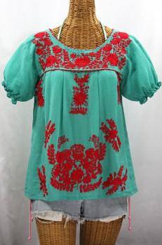 """La Mariposa Corta de Color"" Embroidered Mexican Blouse - Mint + Red"