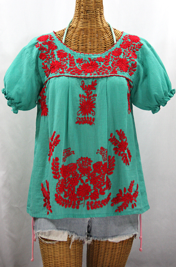 """La Mariposa Corta de Color"" Embroidered Mexican Blouse - Mint + Red"