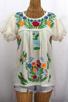 """""""La Mariposa Corta de Color"""" Embroidered Mexican Peasant Blouse - Off White + Fiesta"""