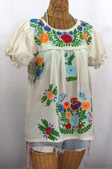 """La Mariposa Corta de Color"" Embroidered Mexican Peasant Blouse - Off White + Fiesta"