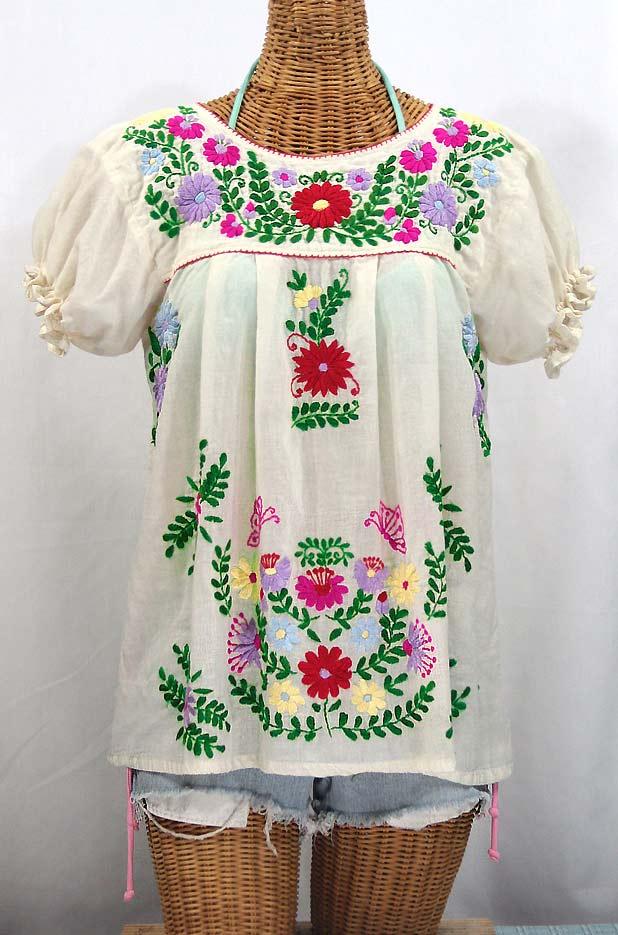 """""""La Mariposa Corta de Color"""" Embroidered Mexican Blouse - Off White + Bright Multi"""