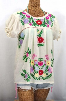 """La Mariposa Corta de Color"" Embroidered Mexican Blouse - Off White + Bright Multi"