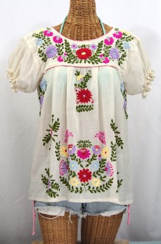 """La Mariposa Corta de Color"" Embroidered Mexican Peasant Blouse - Off White"