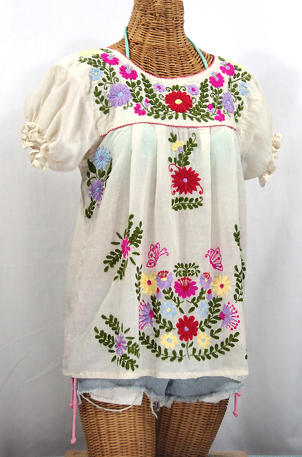 """""""La Mariposa Corta de Color"""" Embroidered Mexican Peasant Blouse - Off White"""