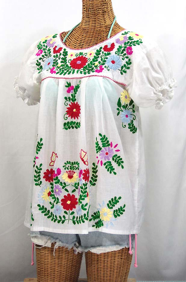 """""""La Mariposa Corta de Color"""" Embroidered Mexican Blouse - White + Bright Multi"""
