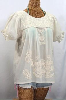 """La Mariposa Corta"" Embroidered Mexican Style Peasant Top - All Off White"