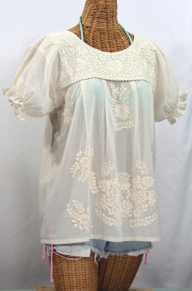 """La Mariposa Corta"" Embroidered Mexican Style Peasant Top - All Off White"