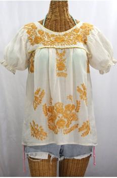 """""""La Mariposa Corta de Color"""" Embroidered Mexican Blouse - Off White + Goldenrod"""