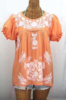 """La Mariposa Corta"" Embroidered Mexican Style Peasant Top - Orange Cream"