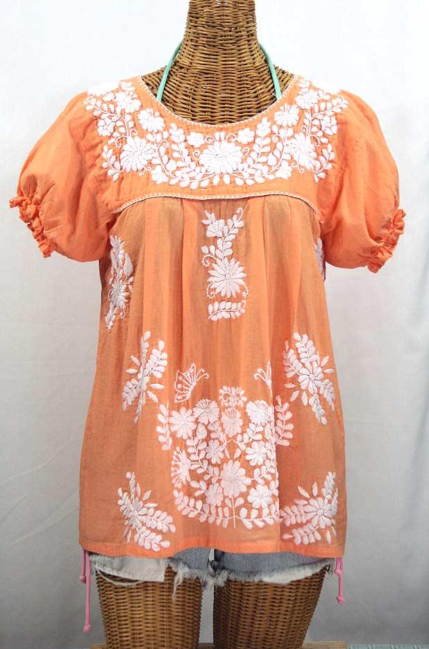 """Final Sale 40% Off -- """"La Mariposa Corta"""" Embroidered Mexican Style Peasant Top - Orange Cream"""