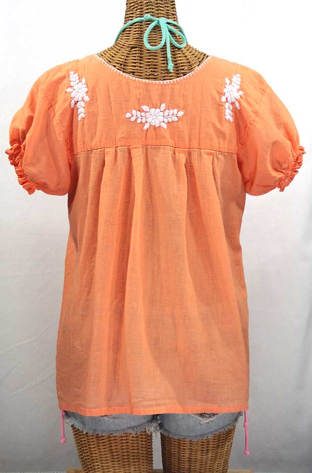 "Final Sale 40% Off -- ""La Mariposa Corta"" Embroidered Mexican Style Peasant Top - Orange Cream"