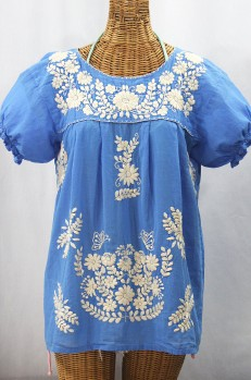"""""""La Mariposa Corta de Color"""" Embroidered Mexican Blouse - Light Blue + Cream"""