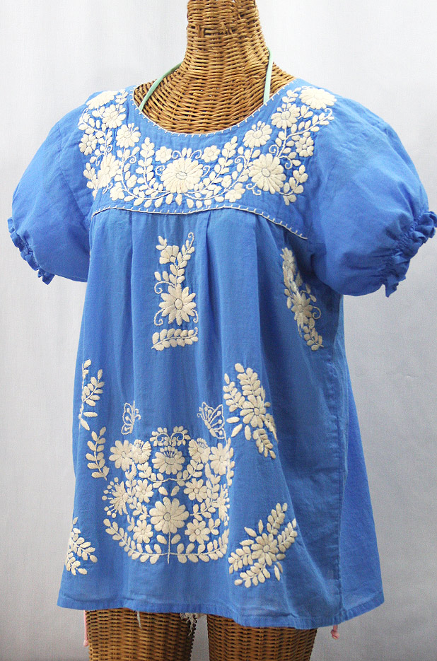 """La Mariposa Corta de Color"" Embroidered Mexican Blouse - Light Blue + Cream"