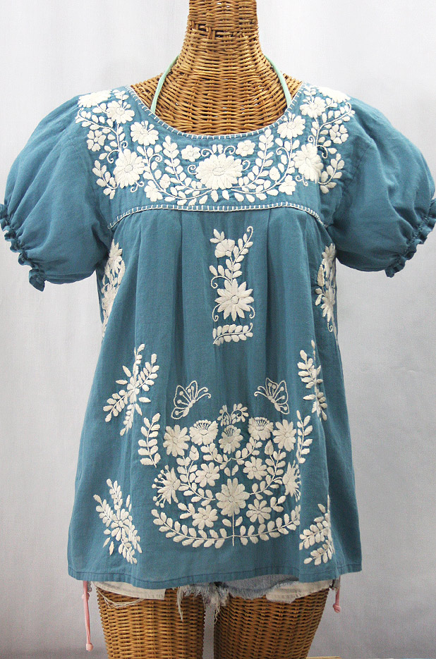 """La Mariposa Corta de Color"" Embroidered Mexican Blouse - Pool Blue + Cream"