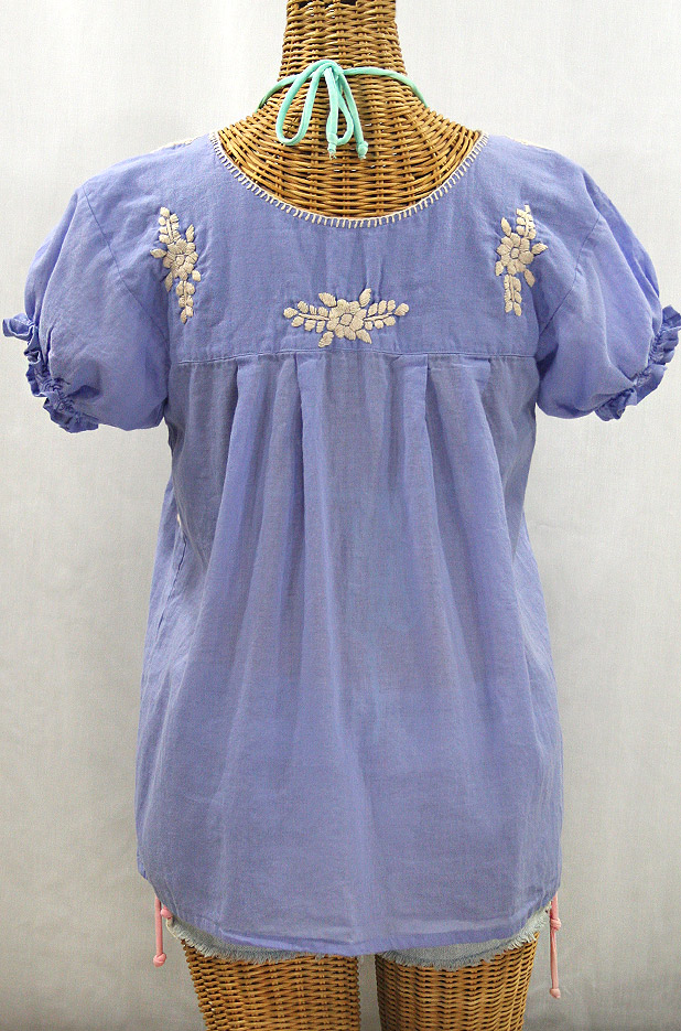 """La Mariposa Corta de Color"" Embroidered Mexican Blouse - Periwinkle + Cream"