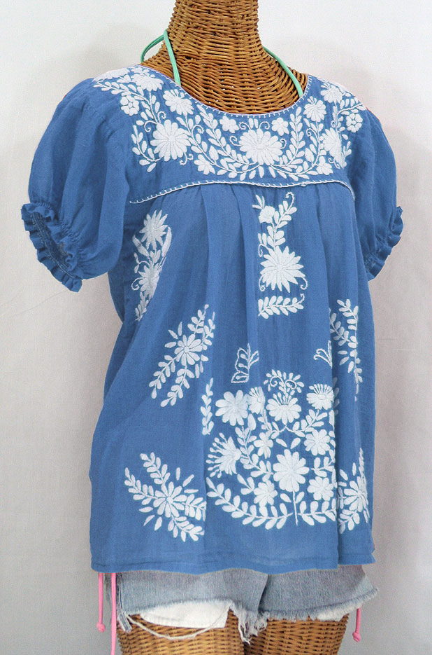 """La Mariposa Corta"" Embroidered Mexican Style Peasant Top - Light Blue"