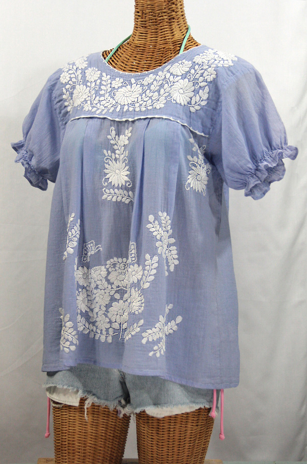 """La Mariposa Corta"" Embroidered Mexican Style Peasant Top - Periwinkle"