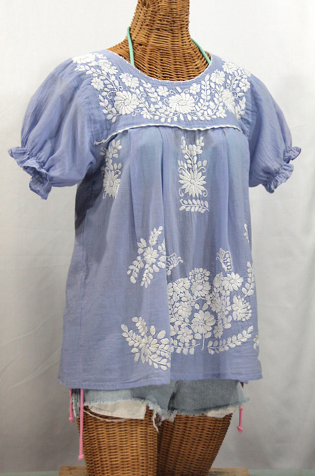 """""""La Mariposa Corta"""" Embroidered Mexican Style Peasant Top - Periwinkle"""