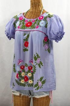 """La Mariposa Corta de Color"" Embroidered Mexican Blouse - Periwinkle"