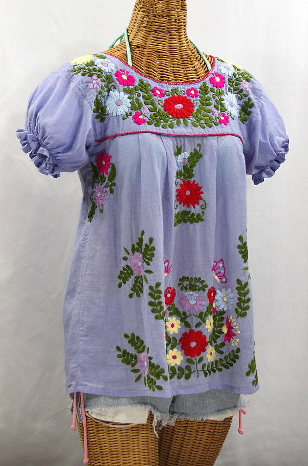 """La Mariposa Corta de Color"" Embroidered Mexican Blouse - Periwinkle"