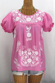 """La Mariposa Corta"" Embroidered Mexican Style Peasant Top - Bubblegum Pink"