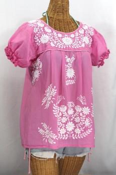 """La Mariposa Corta"" Embroidered Mexican Style Peasant Top - Bubblegum Pink"