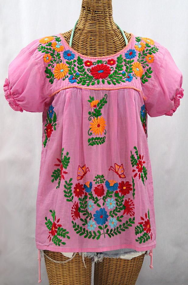 """La Mariposa Corta de Color"" Embroidered Mexican Blouse - Bubblegum Pink + Fiesta"