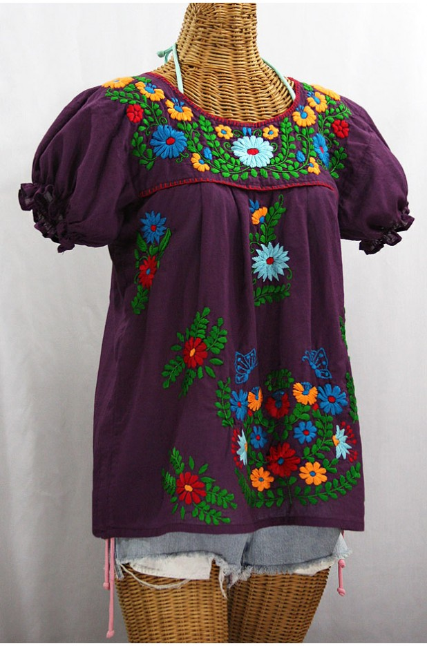 """La Mariposa Corta de Color"" Embroidered Mexican Blouse - Plum + Fiesta"