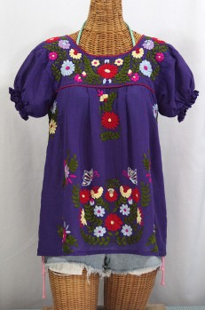 """La Mariposa Corta de Color"" Embroidered Mexican Peasant Blouse - Purple"