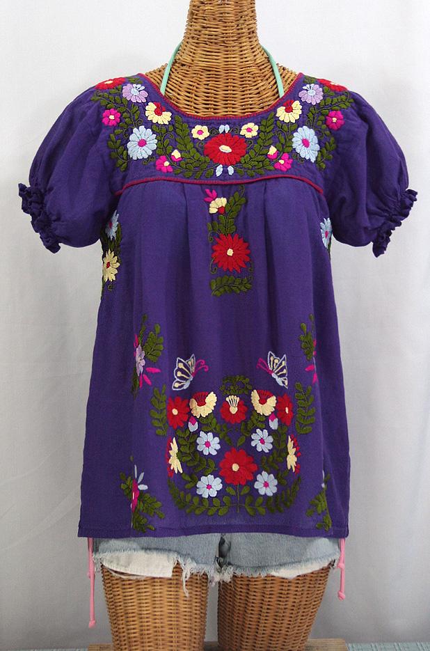 """""""La Mariposa Corta de Color"""" Embroidered Mexican Peasant Blouse - Purple"""