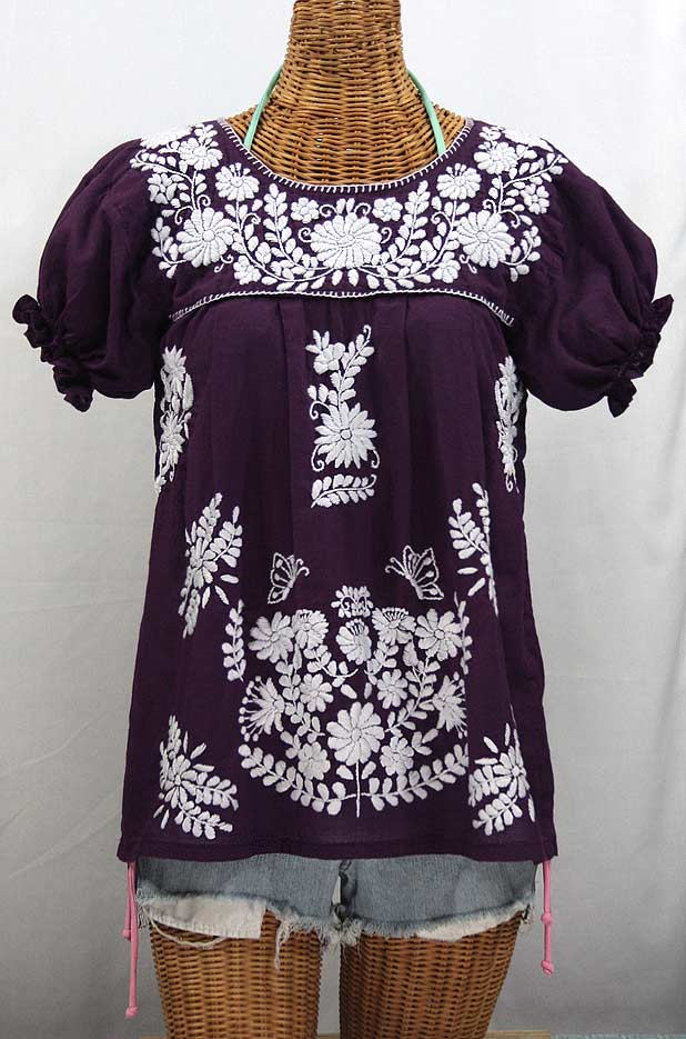"""La Mariposa Corta"" Embroidered Mexican Style Peasant Top - Plum"
