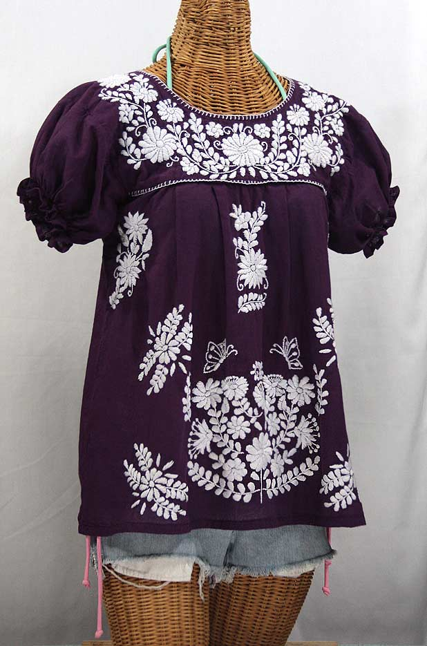 """La Mariposa Corta"" Embroidered Mexican Style Peasant Top - Plum"