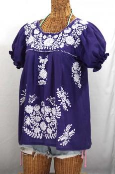 """La Mariposa Corta"" Embroidered Mexican Style Peasant Top - Royal Purple"