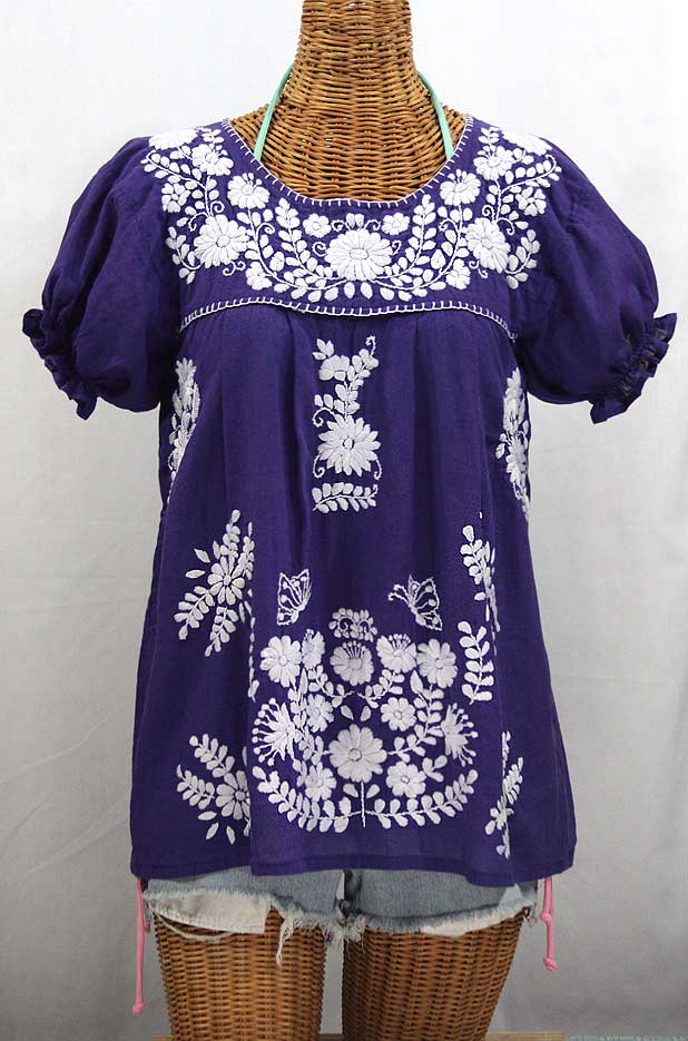 La Mariposa Corta Embroidered Mexican Style Peasant Top Royal Purple