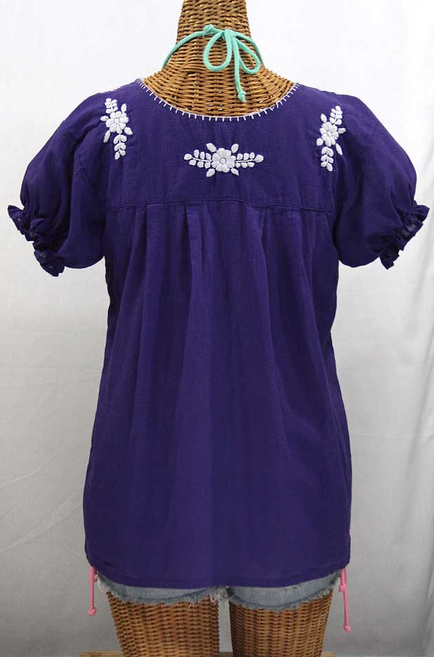 """La Mariposa Corta"" Embroidered Mexican Style Peasant Top - Royal Purple"